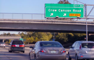 South bound on 680 freeway exit Crow Canyon.