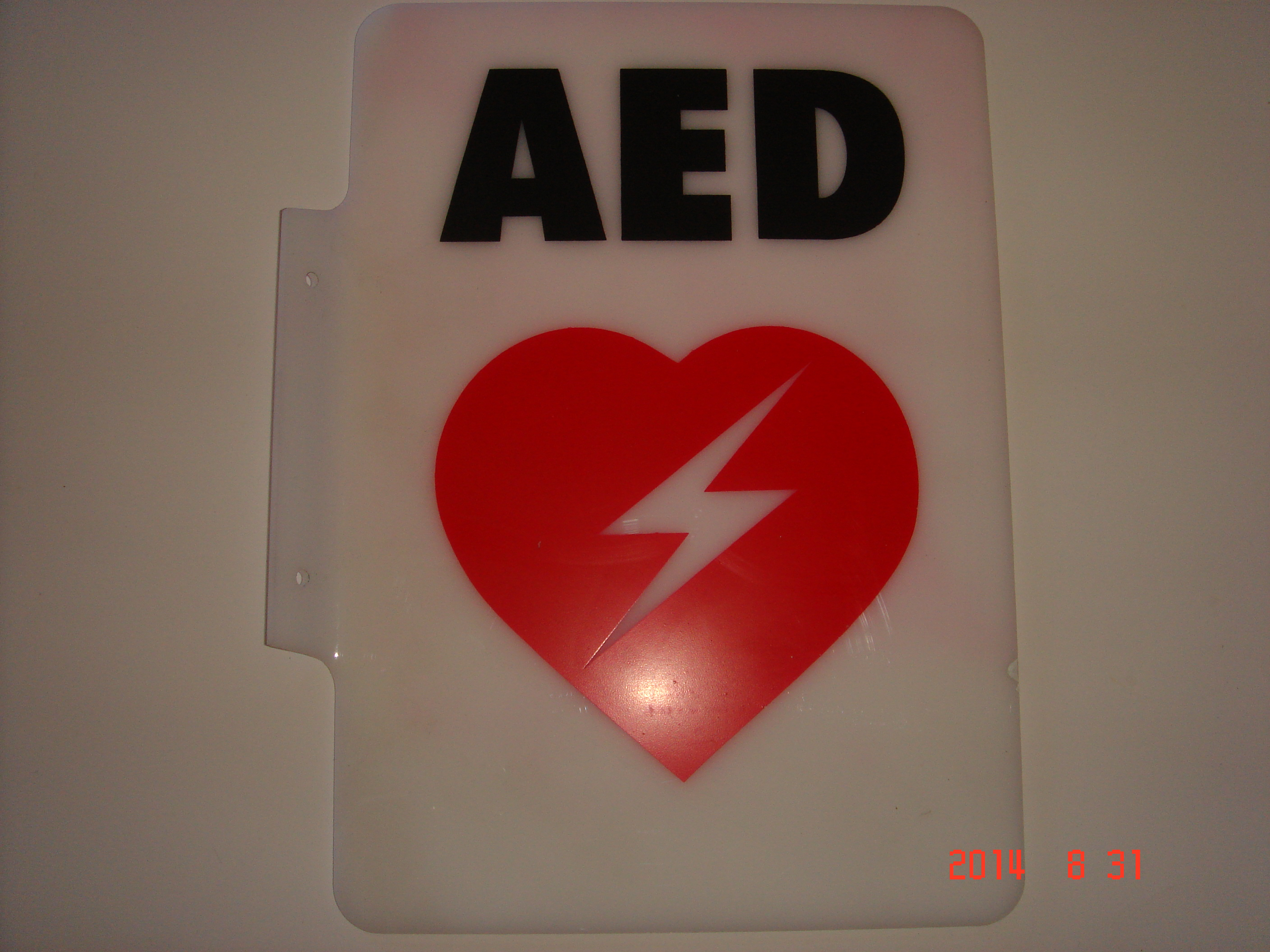 Angled AEd wall sign #3