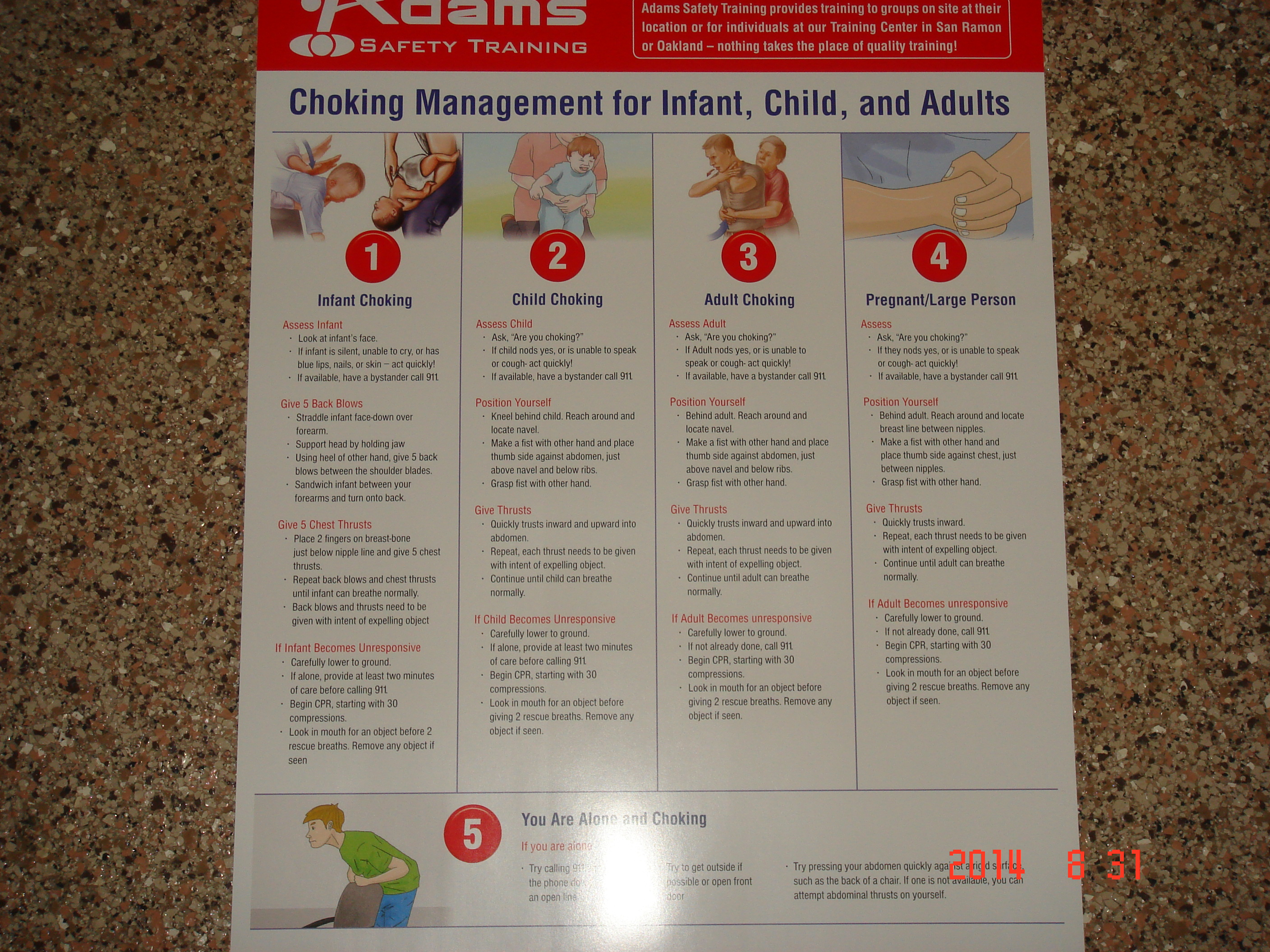 Choking poster for infant child and adults adams safety choking poster for infant child adult xflitez Images