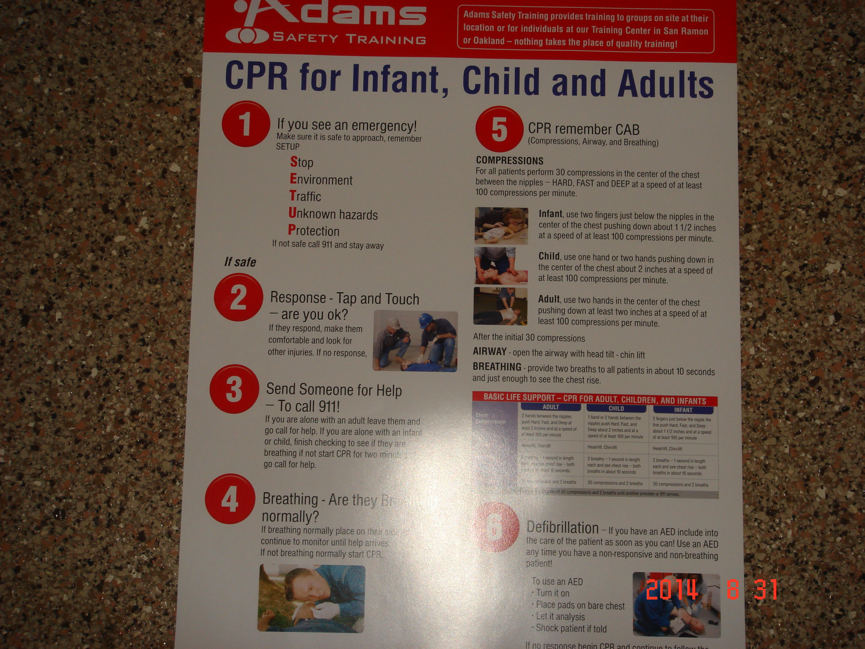 Cpr poster for infant child and adults adams safety web site store pictures 049 xflitez Images