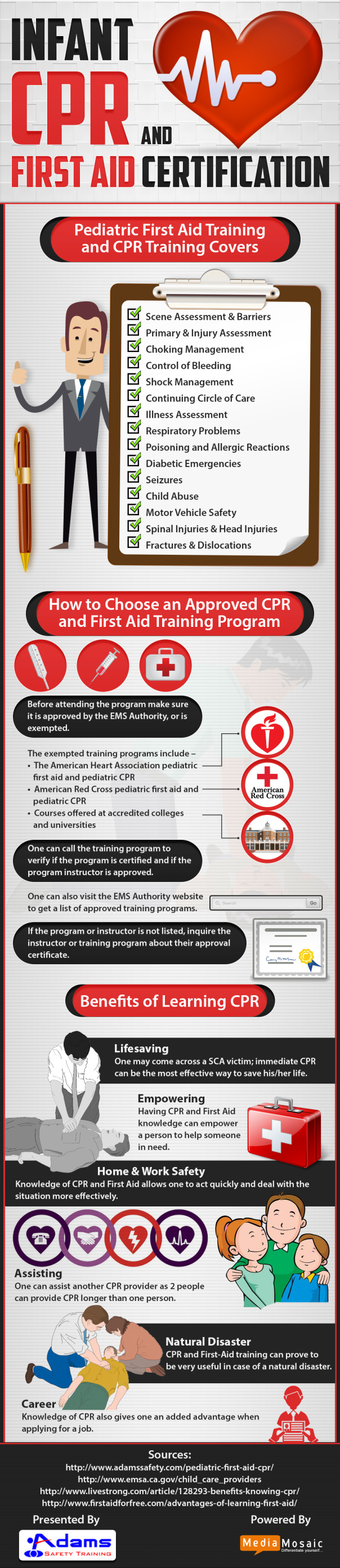 Infant CPR and first aid certification