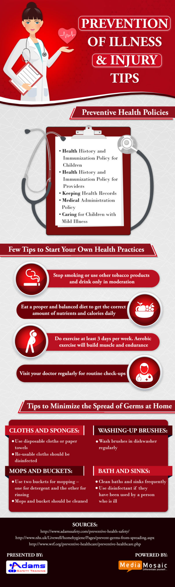 Prevention of Illness and Injury Tips - Infographic